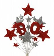 Number age 80th birthday cake topper decoration in red and silver - free postage